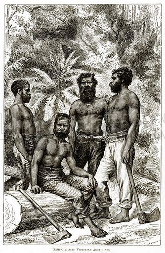 Semi-Civilised Victorian Aborigines. Illustration from Australian Pictures by Howard Willoughby (Religious Tract Society, c 1886).