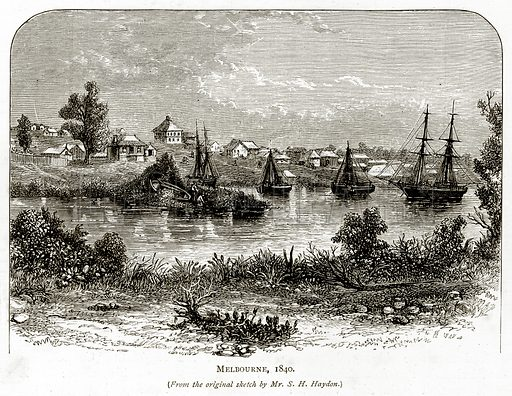 Melbourne, 1840. Illustration from Australian Pictures by Howard Willoughby (Religious Tract Society, c 1886).