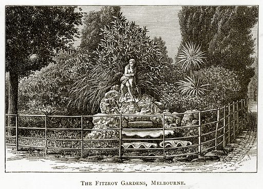 The Fitzroy Gardens, Melbourne. Illustration from Australian Pictures by Howard Willoughby (Religious Tract Society, c 1886).