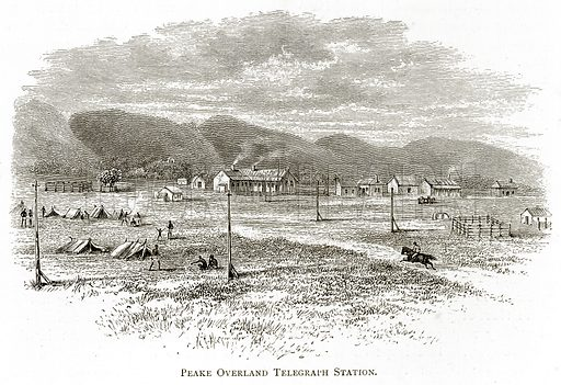 Peake Overland Telegraph Station. Illustration from Australian Pictures by Howard Willoughby (Religious Tract Society, c 1886).