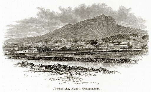 Townsville, North Queensland. Illustration from Australian Pictures by Howard Willoughby (Religious Tract Society, c 1886).