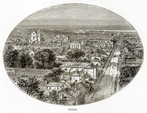 Perth. Illustration from Australian Pictures by Howard Willoughby (Religious Tract Society, c 1886).
