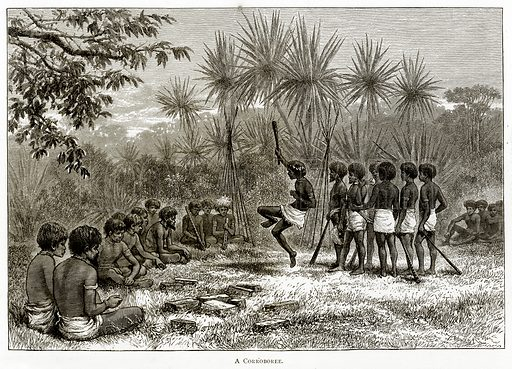 A Corroboree. Illustration from Australian Pictures by Howard Willoughby (Religious Tract Society, c 1886).