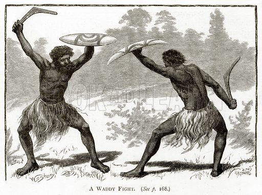 A Waddy Fight. Illustration from Australian Pictures by Howard Willoughby (Religious Tract Society, c 1886).