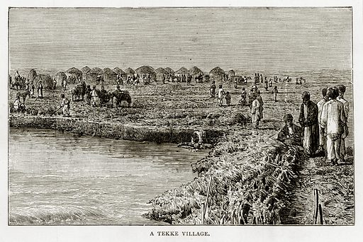 A Tekke Village. Illustration from Russian Pictures by Thomas Michell (Religious Tract Society, 1889).