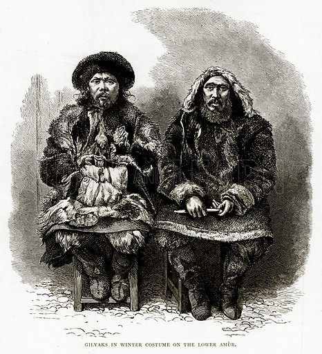 Gilyaks in Winter Costume on the Lower Amur. Illustration from Russian Pictures by Thomas Michell (Religious Tract Society, 1889).