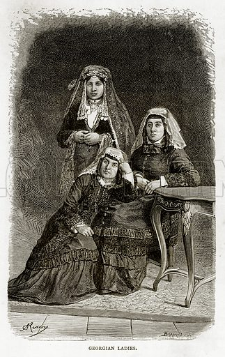 Georgian Ladies. Illustration from Russian Pictures by Thomas Michell (Religious Tract Society, 1889).