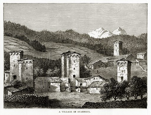 A Village in Svanneti. Illustration from Russian Pictures by Thomas Michell (Religious Tract Society, 1889).