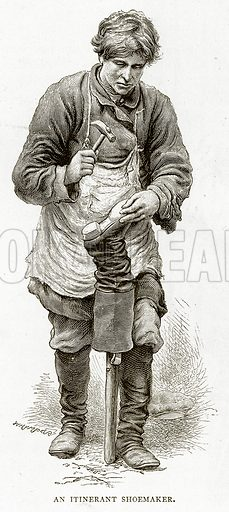 A Itinerant Shoemaker. Illustration from Russian Pictures by Thomas Michell (Religious Tract Society, 1889).