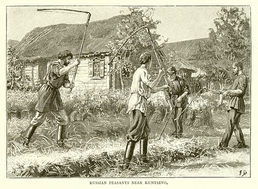 Russian Peasants near Kuntsevo. Illustration from Russian Pictures by Thomas Michell (Religious Tract Society, 1889).