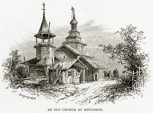 An Old Church at Novgord. Illustration from Russian Pictures by Thomas Michell (Religious Tract Society, 1889).