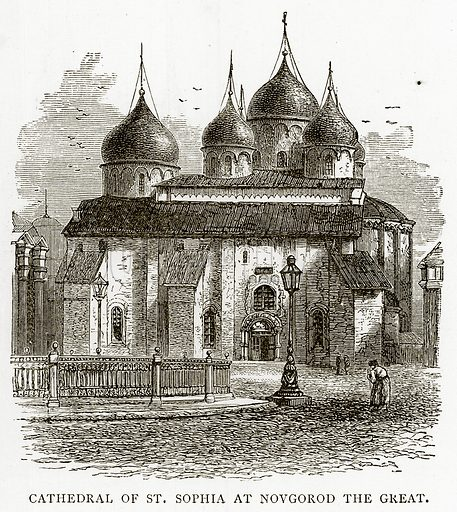 Cathedral of St. Sophia at Novgorod the Great. Illustration from Russian Pictures by Thomas Michell (Religious Tract Society, 1889).