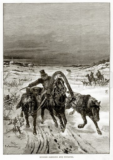 Russian Sledging and Coursing. Illustration from Russian Pictures by Thomas Michell (Religious Tract Society, 1889).
