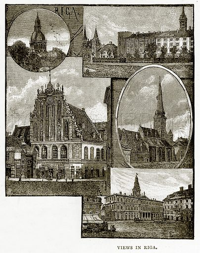 Views in Riga. Illustration from Russian Pictures by Thomas Michell (Religious Tract Society, 1889).