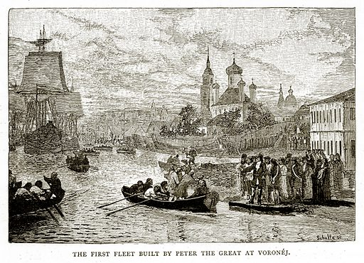 The First Fleet Built by Peter the Great at Voronej. Illustration from Russian Pictures by Thomas Michell (Religious Tract Society, 1889).