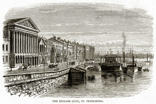 The English Quay, St. Petersburg. Illustration from Russian Pictures by Thomas Michell (Religious Tract Society, 1889).