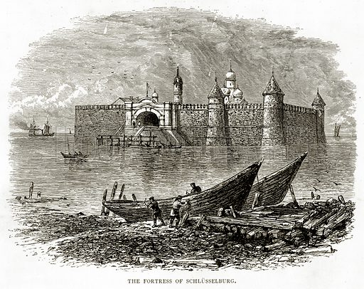 The Fortress of Schlusselburg. Illustration from Russian Pictures by Thomas Michell (Religious Tract Society, 1889).