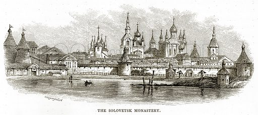The Soloversk Monastery. Illustration from Russian Pictures by Thomas Michell (Religious Tract Society, 1889).