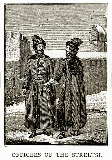 Officers of the Streltsi. Illustration from Russian Pictures by Thomas Michell (Religious Tract Society, 1889).