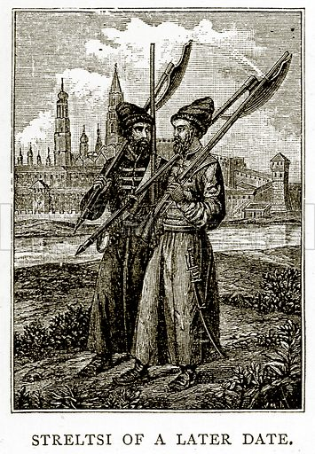 Streltsi of a later date. Illustration from Russian Pictures by Thomas Michell (Religious Tract Society, 1889).