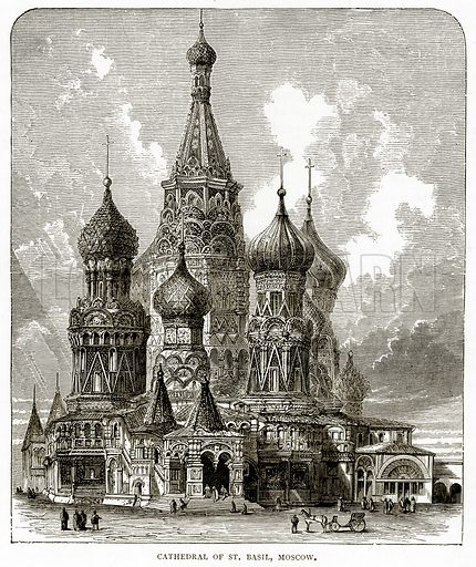 Cathedral of St. Basil, Moscow. Illustration from Russian Pictures by Thomas Michell (Religious Tract Society, 1889).