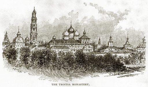 The Troitsa Monastery. Illustration from Russian Pictures by Thomas Michell (Religious Tract Society, 1889).