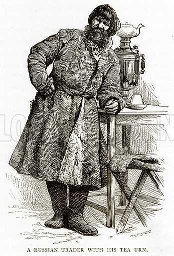 A Russian Trader with his Tea Urn. Illustration from Russian Pictures by Thomas Michell (Religious Tract Society, 1889).