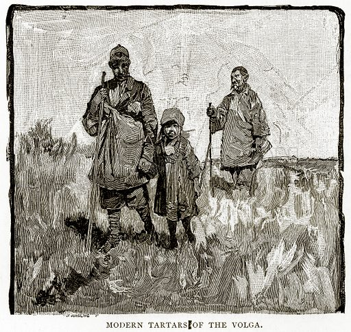 Modern Tartars of the Volga. Illustration from Russian Pictures by Thomas Michell (Religious Tract Society, 1889).