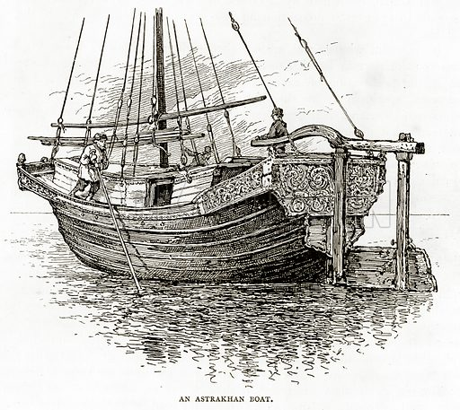 An Astrakhan Boat. Illustration from Russian Pictures by Thomas Michell (Religious Tract Society, 1889).