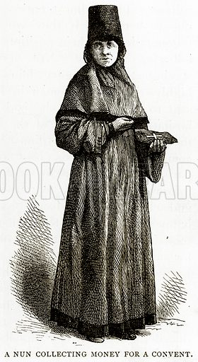 A Nun collecting money for a convent. Illustration from Russian Pictures by Thomas Michell (Religious Tract Society, 1889).