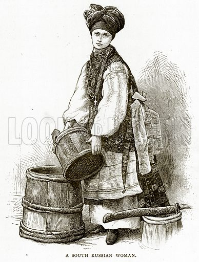 A South Russian Woman. Illustration from Russian Pictures by Thomas Michell (Religious Tract Society, 1889).