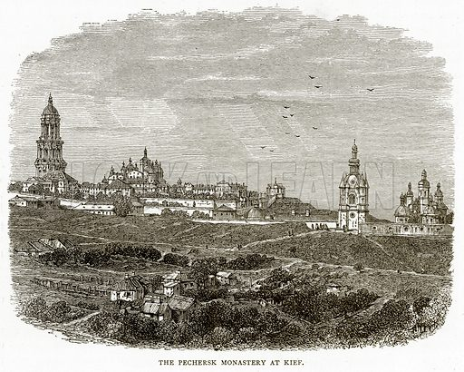 The Pechersk Monastery at Kief. Illustration from Russian Pictures by Thomas Michell (Religious Tract Society, 1889).