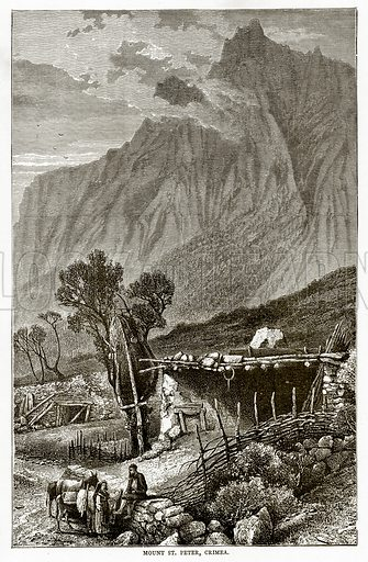 Mount St Peter, Crimea. Illustration from Russian Pictures by Thomas Michell (Religious Tract Society, 1889).