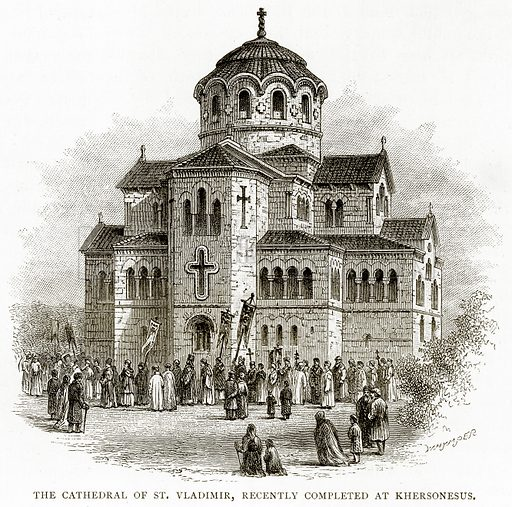 The Cathedral of St. Vladimir, recently completed at Khersonesus. Illustration from Russian Pictures by Thomas Michell (Religious Tract Society, 1889).