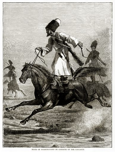 Feats of Horsemanship by Cossacks of the Caucasus. Illustration from Russian Pictures by Thomas Michell (Religious Tract Society, 1889).