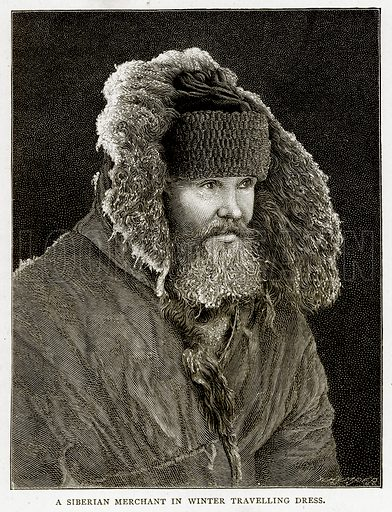 A Siberian Merchant in Winter Travelling Dress. Illustration from Russian Pictures by Thomas Michell (Religious Tract Society, 1889).