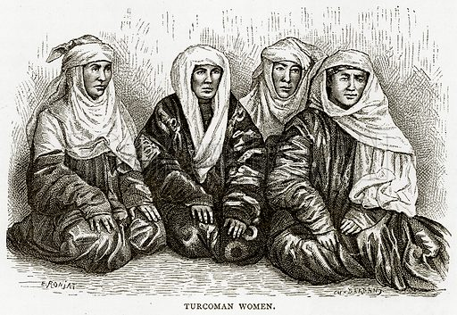 Turcoman Women. Illustration from Russian Pictures by Thomas Michell (Religious Tract Society, 1889).