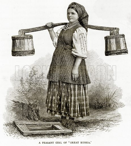 """A Peasant Girl of """"Great Russia."""" Illustration from Russian Pictures by Thomas Michell (Religious Tract Society, 1889)."""