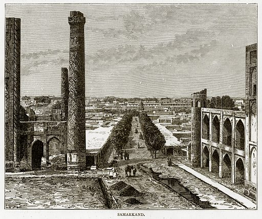 Samarkand. Illustration from Russian Pictures by Thomas Michell (Religious Tract Society, 1889).