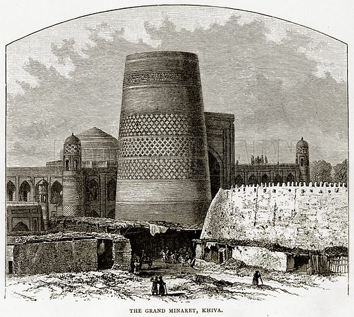 The Grand Minaret, Khiva. Illustration from Russian Pictures by Thomas Michell (Religious Tract Society, 1889).