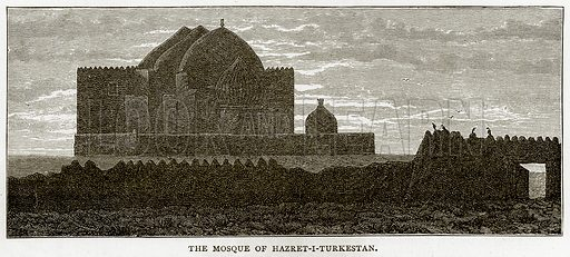 The Mosoue of Hazret-I-Turkestan. Illustration from Russian Pictures by Thomas Michell (Religious Tract Society, 1889).