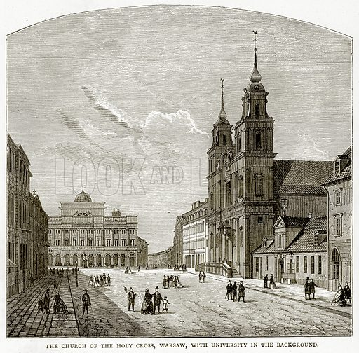 The Church of the Holy Cross, Warsaw, with University in the background. Illustration from Russian Pictures by Thomas Michell (Religious Tract Society, 1889).
