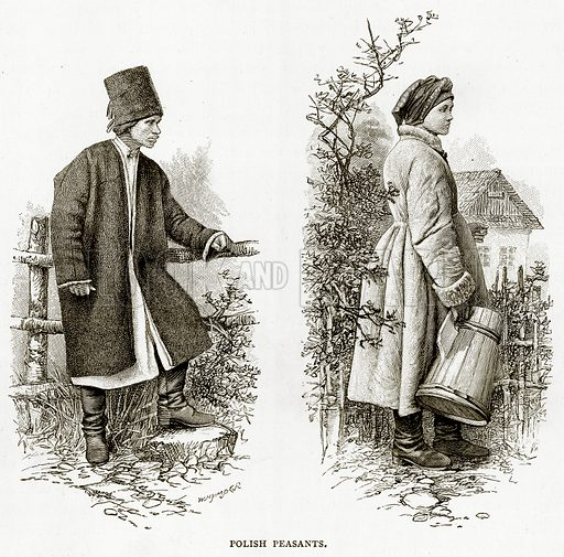 Polish Peasants. Illustration from Russian Pictures by Thomas Michell (Religious Tract Society, 1889).