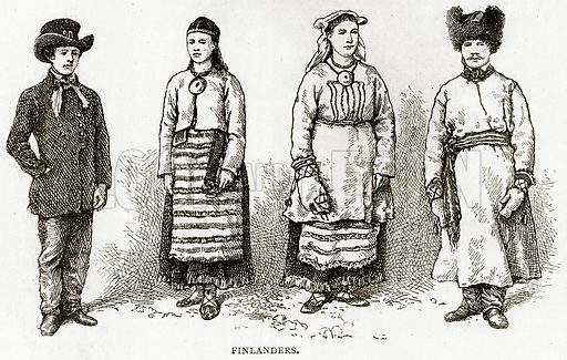 Finlanders. Illustration from Russian Pictures by Thomas Michell (Religious Tract Society, 1889).