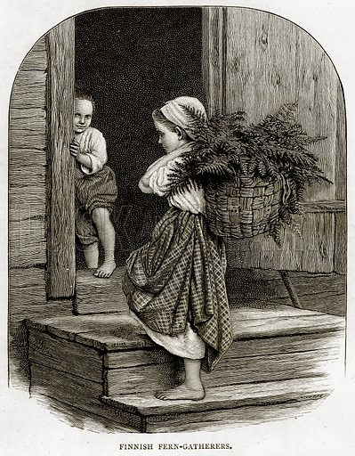 Finnish Fern-Gatherers. Illustration from Russian Pictures by Thomas Michell (Religious Tract Society, 1889).
