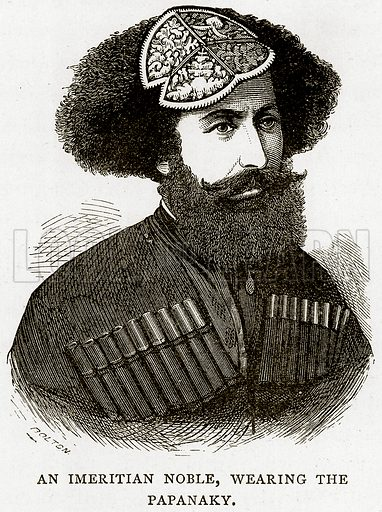 An Imeritian Noble, wearing the Papanaky. Illustration from Russian Pictures by Thomas Michell (Religious Tract Society, 1889).