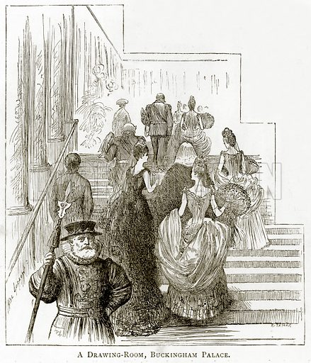 The Drawing-Room, Buckingham Palace. Illustration from London Pictures by Richard Lovett (Religious Tract Society, 1890).