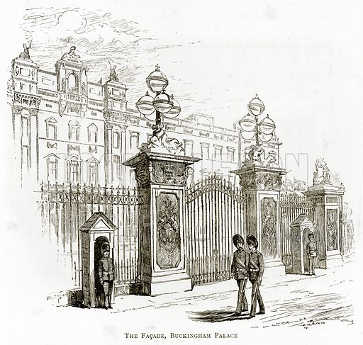The Faqade, Buckingham Palace. Illustration from London Pictures by Richard Lovett (Religious Tract Society, 1890).
