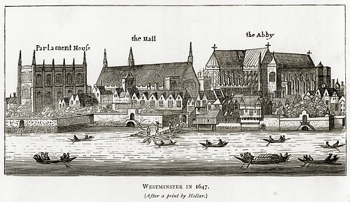 Westminster in 1647. Illustration from London Pictures by Richard Lovett (Religious Tract Society, 1890).