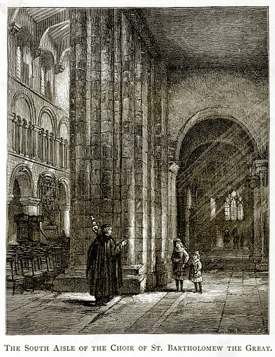 The South Aisle of the Choir of St. Bartholomew the Great. Illustration from London Pictures by Richard Lovett (Religious Tract Society, 1890).
